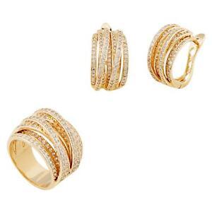 Juego-de-joyas-anillo-pendientes-banado-en-oro-750-18-Quilates-Amarillo-Mujer