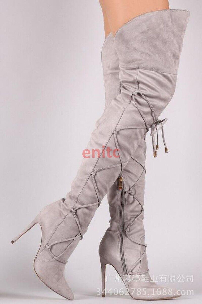 Zapatos de tacón alto Sexy Para Mujeres Gamuza Gamuza Mujeres Romano Puntera Puntiaguda vendaje sobre la rodilla Botas muslo 20b6ef