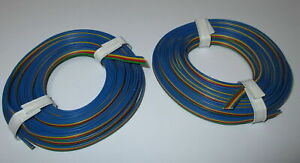 1m-0-695-Four-of-a-kind-Wire-2x5m-Blue-Ribbon-Cable-New