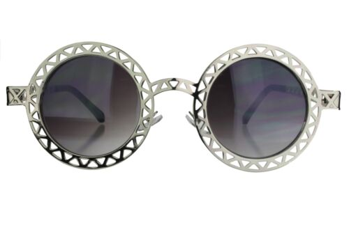 Sunglasses Womens Round Lenses Laser Triangle Cutout Mesh Frame Silver