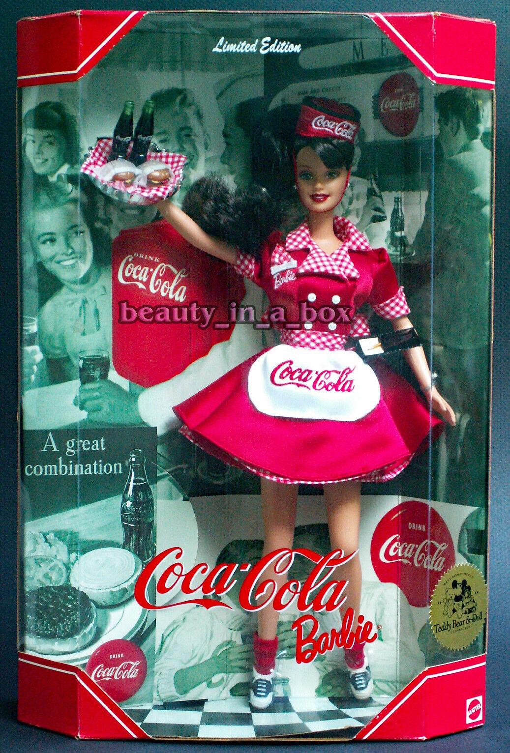 Coca Cola Barbie Muñeca Raro Morena convención Car Hop camarera