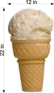 DIECUT-SIGN-HAND-DIPPED-VANILLA-ICE-CREAM-CONE-12-034-x-22-034-YOU-CHOOSE-MATERIAL