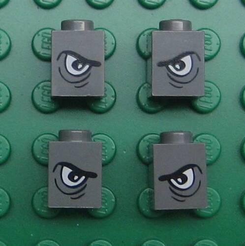 4 GRAY LEGO 1x1 EYE PIECES BRICKS LOT faces animals grey blocks mad evil eyes