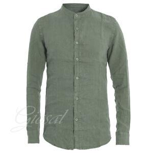 Camicia-Uomo-Collo-Coreano-Tinta-Unita-Verde-Lino-Maniche-Lunghe-Casual-GIOSAL