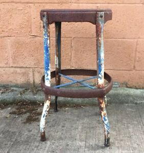 Phenomenal Details About Vintage Rustic Old Chippy Paint Industrial Steampunk Small Metal Stool Chair Lamtechconsult Wood Chair Design Ideas Lamtechconsultcom
