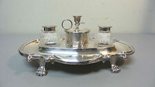 LOVELY ANTIQUE GERMAN SILVER PLATE DOUBLE INKWELL / INKSTAND