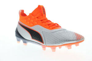 Puma-One-1-FG-AG-10472201-Mens-Silver-Gray-Low-Top-Athletic-Soccer-Cleats-Shoes