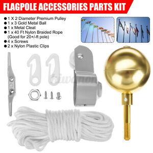 """Flag Pole Parts Repair Kit 2/""""  Truck Pulley Aluminum Cleat Clip Halyard Rope"""