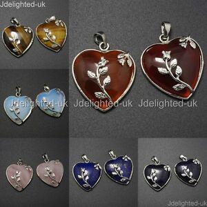 Natural-Gemstone-Heart-Silver-Plated-Flower-Reiki-Chakra-Pendant-Charm-Beads