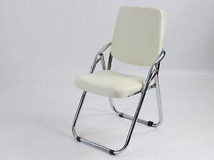 2-x-Stuhl-Konferenzstuhl-Designer-Buerostuhl-PU-Lederstuhl-Klappstuhl-weiss-B-Ware
