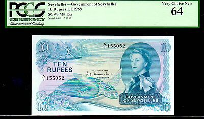 "SEYCHELLES P15a 1968 10 RUPEES PCGS 64 ""SEA TURTLE NOTE"" PERFECT CENTERING!"