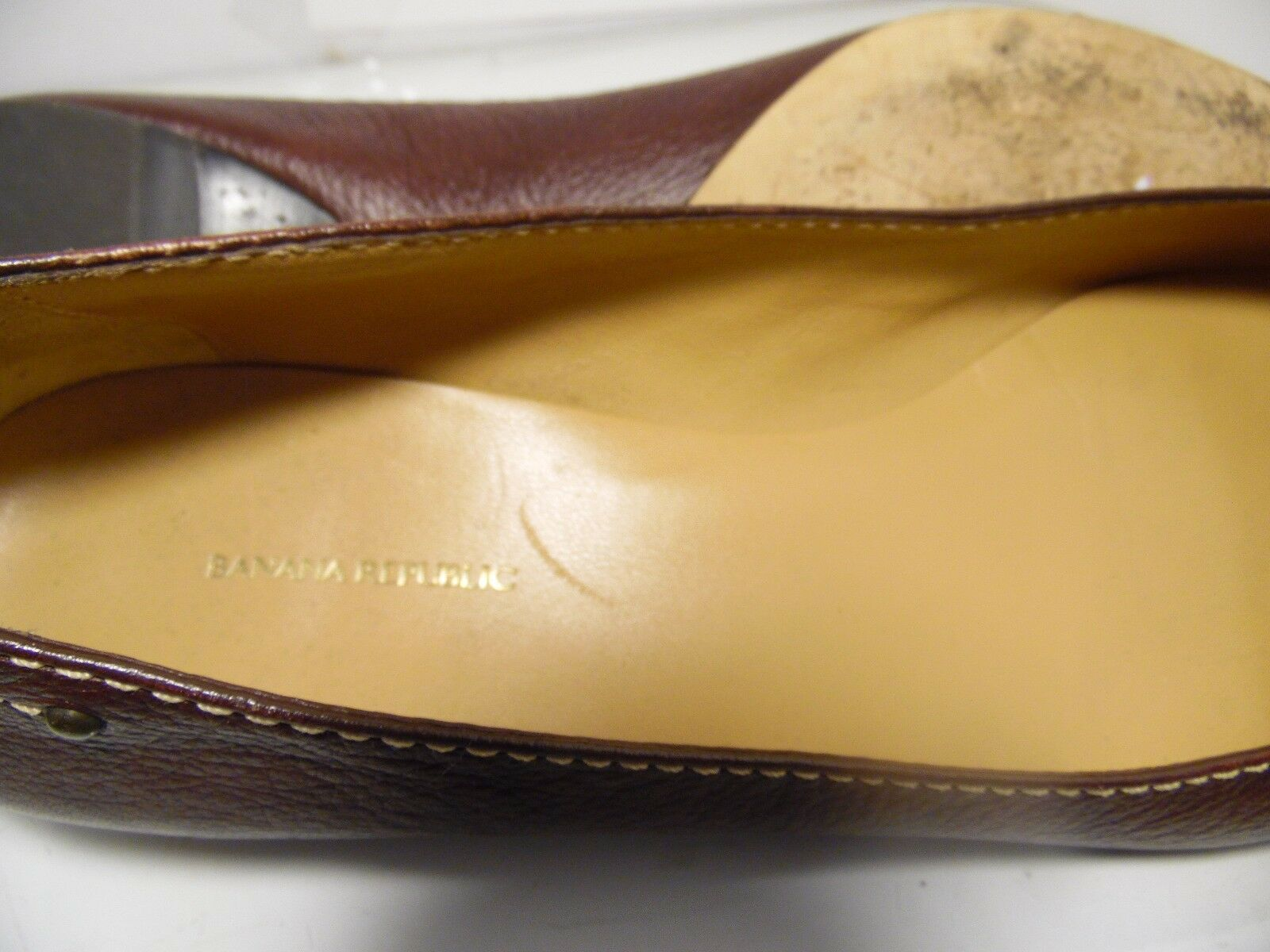 Banana Republic Toe Brown Leather Flats Buckle Point Toe Republic Womens Size 11 456744