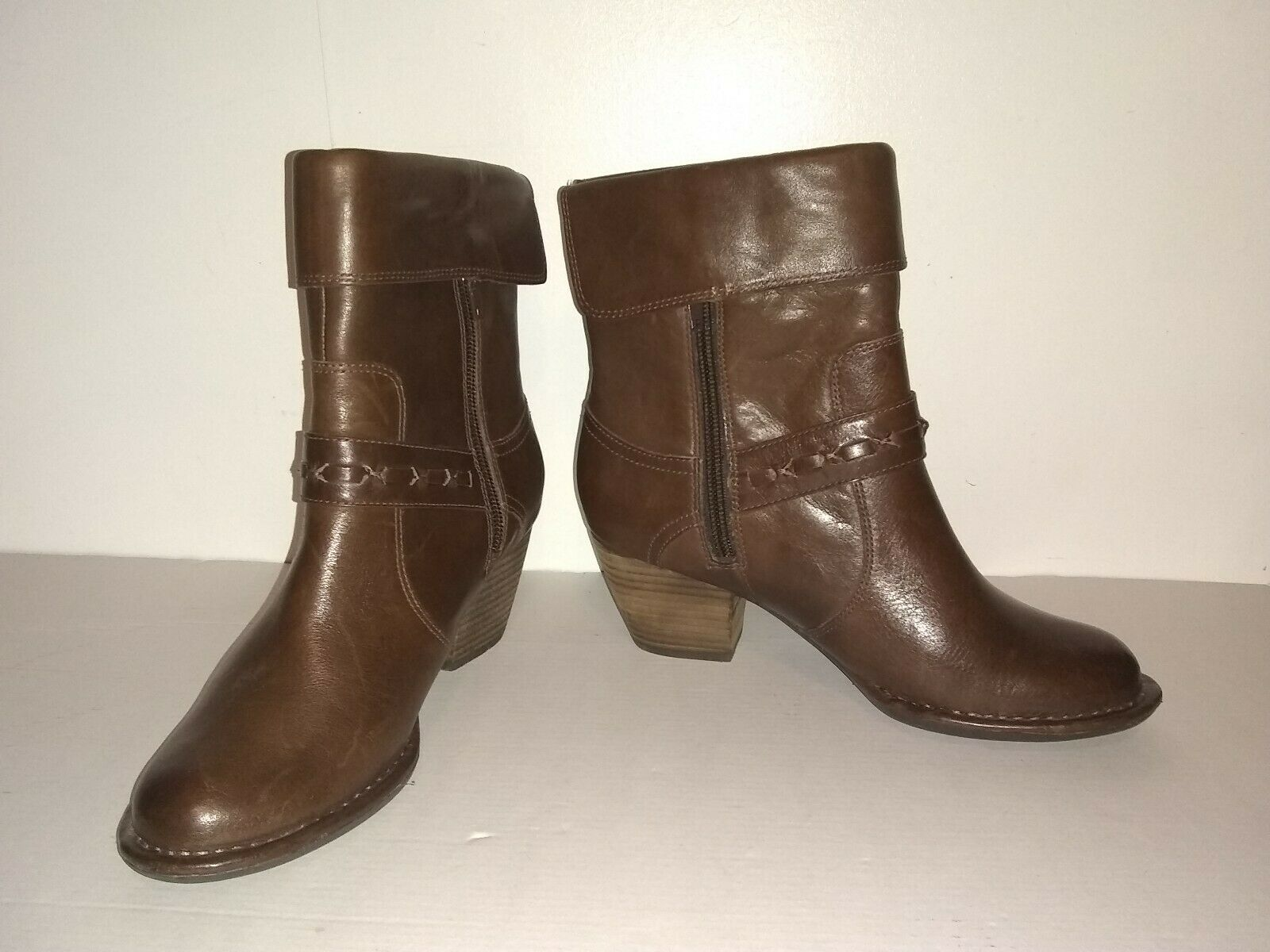 Clarks Ladies Ankle Boots UK Size 4 D EU 37 Brown Leather Zips Straps Heels