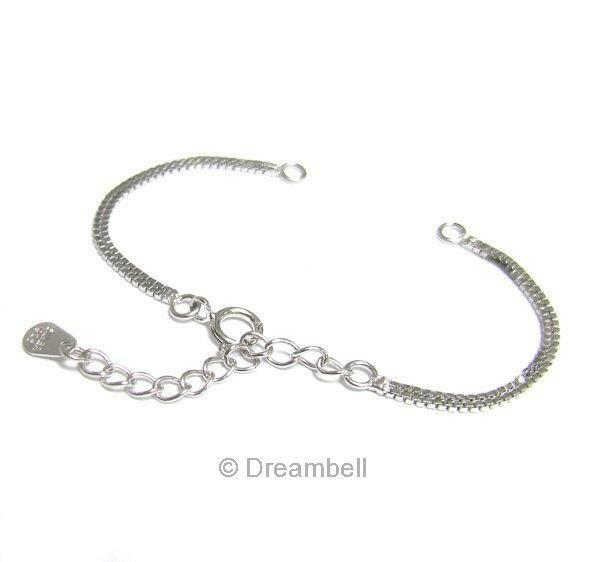 STERLING SILVER BOX Chain Bracelet Necklace connector w/ extender Tag Dreambell