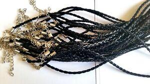 Lot 20 Fin Cordon en Cuir Noir Neuf  49 cm avec chaînette