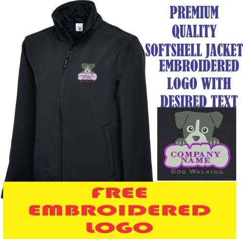 Personalised Embroidered Softshell Jacket DOG WALKING workwear UNIFORM LOGO