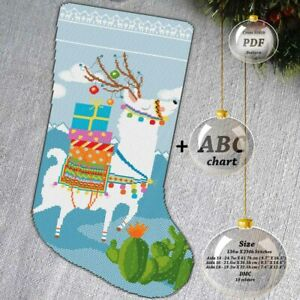 Llama-Deer-Christmas-stocking-Embroidery-Cross-stitch-PDF-Pattern-092