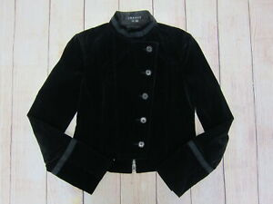 THEORY-Women-039-s-Velvet-Cropped-Military-Style-Jacket-Size-4-Black-Preowned