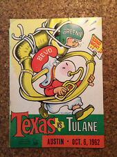 Texas Longhorns vs Tulane Green Wave 1962 Football Program John Churchill Chase