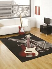 "Retro Rock Guitar Rug Black Grey Red in 120 x 160 cm (4' x 5'3"")  Vintage Carpet"