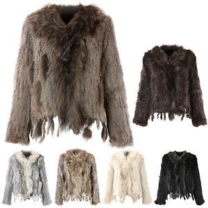 Damen-Echtfell-Felljacke-Mantel-Kaninchen-Hasenfell-Outwear-Winter-Fruehling