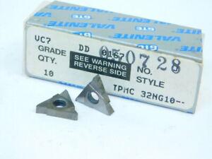 NEW-SURPLUS-10PCS-VALENITE-TPMC-32NG10-GRADE-VC7-CARBIDE-INSERTS