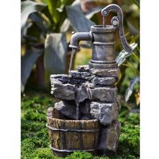 Outdoor Fountain Barrel Well Pump Rock Wood Antique Cascading Water Garden Patio