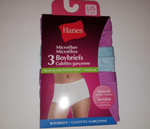 S,M,L,XL NIP Hanes Microfiber Boyshorts  womans panties 3 Pack Sizes