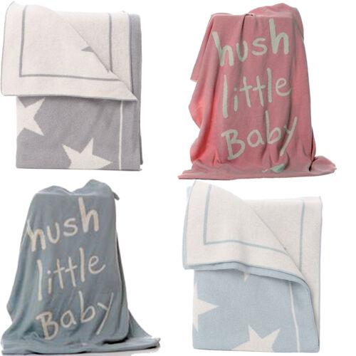 Gris Blanco Estrellas Bebé Azul Rosa De Punto Recién nacidos Niño Niña Sillita Mantas Nuevo