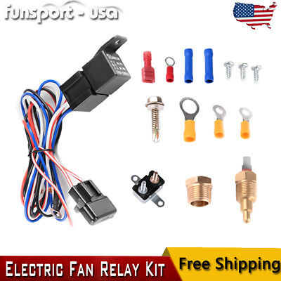Universal Electric Radiator Cooling Fan Relay Kit Thermostat Temperature Switch Ebay