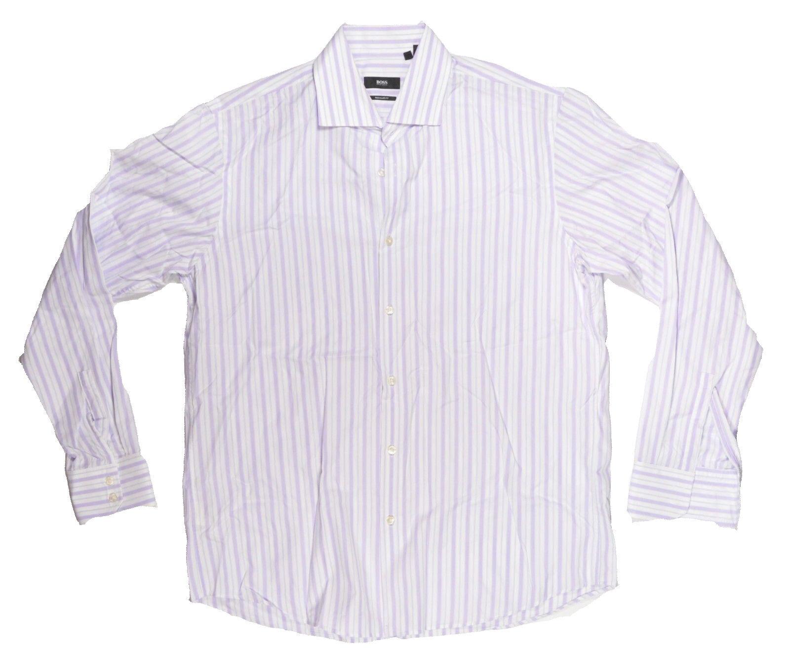 Hugo Boss GERALD  Herren Dress Shirt Regular fit 16.5 Weiß/Lavender NEW