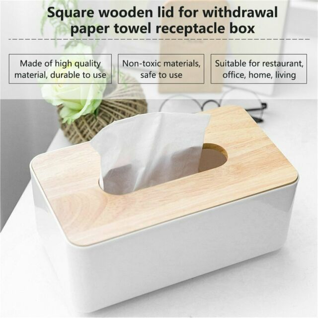 Plastic Home Room Car Hotel Tissue Box Wooden Cover Paper Napkin Holder Case MT