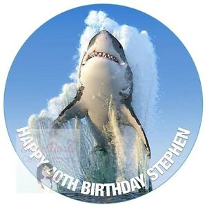 GREAT WHITE SHARK CAKE TOPPER PERSONALISED ROUND EDIBLE ...