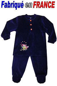 c00c1d79b8c18 Pyjama velours à pieds 2 pièces de 2 ans à 8 ans (marine) NEUF ...