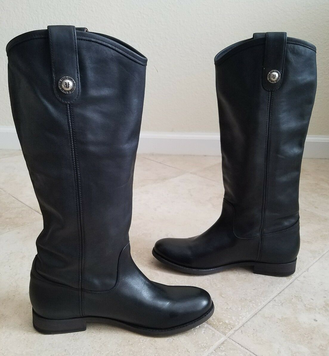 Frye Womens Melissa Button Riding  Leather Boots Size 7.5 B  Black
