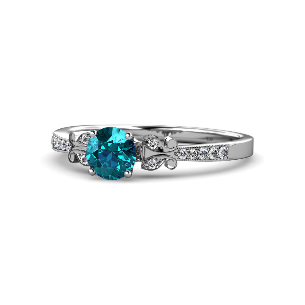 London bluee Topaz & Diamond Butterfly Engagement Ring 1.22cttw 14K gold JP 59404