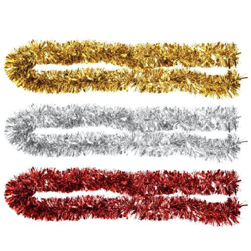 2m 6ply Thick Chunky Metallic Tinsel Christmas Tree Home Decoration Festive