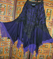 Dark Star Long Purple Black Fairy Goth...gypsy Lace Skirt ...freesize M/l