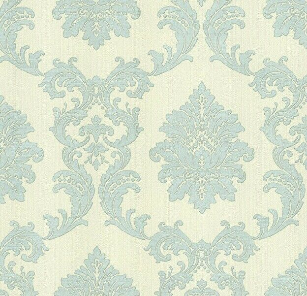 BHF FD20303 Acanthus Damask Wallpaper - Ivory & Silver