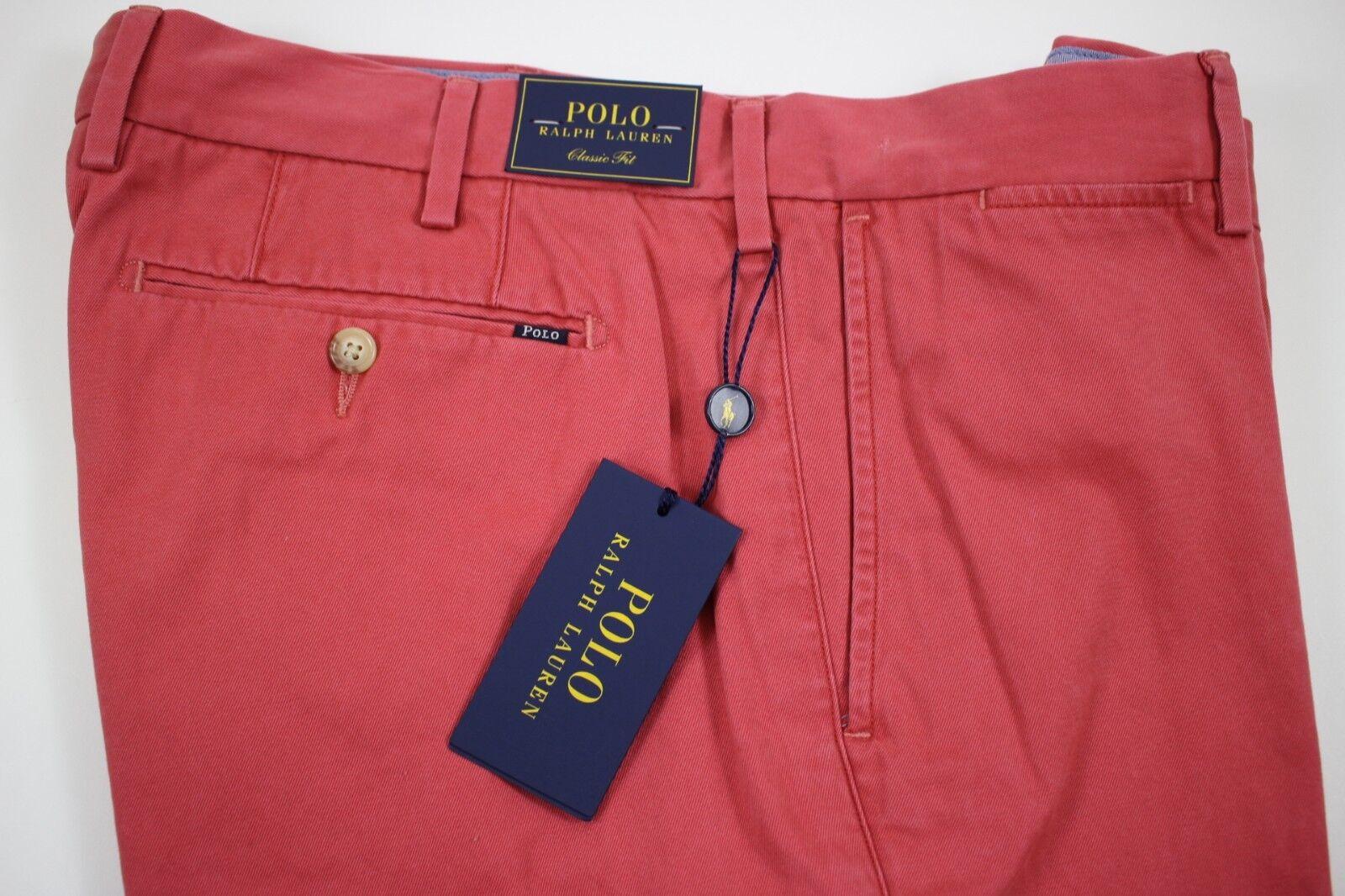 NWT  RALPH LAUREN 34x30 Men's Flat Front Red Pima Cotton CLASSIC FIT Pant