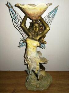 Elfe Statuette Fée Papillon Figurine Porte Bougie Vintage (1990)