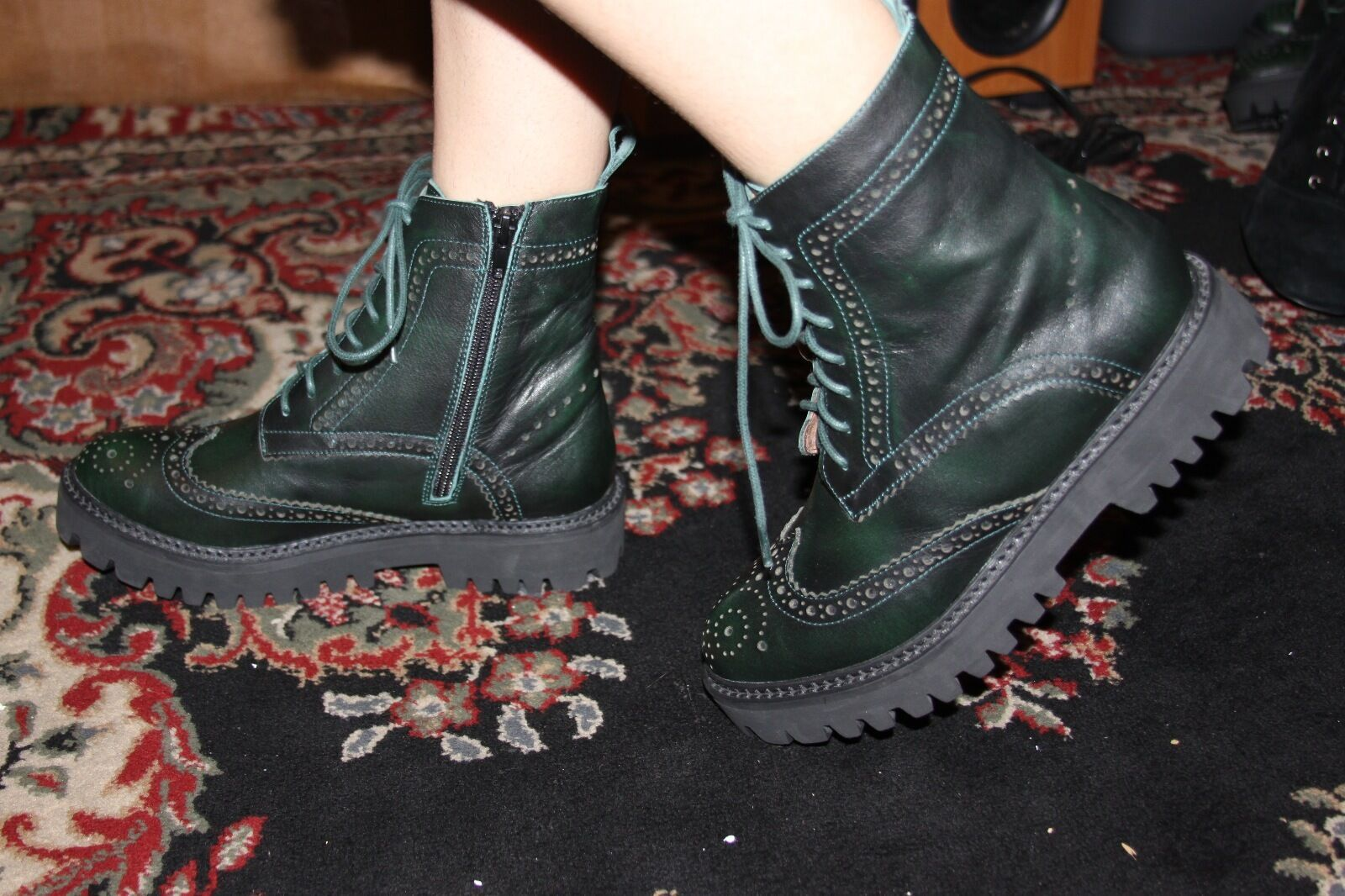 JEFFREY CAMPBELL CLASH GREEN ANKLE BOOT SIZE 6.5