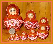 Russian nesting doll 10 BROWN GOLD MATRYOSHKA hand painted SIMAKOVA signed GIFT