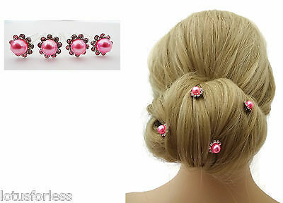 Bridal Hair Pins Grips Flower Design with Candy Pink Pearl and Diamante x 4