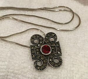 deco picture pendant chain art marcasite black of silver on sterling spinel