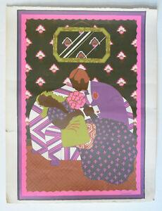 Lithographie-Monotype-1-1-signee-de-SURIAN-jean-jacques-Couple-Amoureux-70s