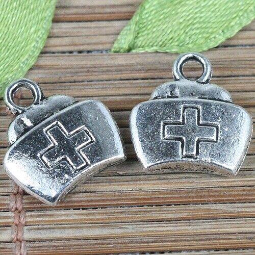24pcs tibetan silver color nurse cap design charms EF0256