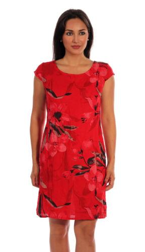 Leinen Kleid Sommerkleid Italy  A-Linie großer Blumen Druck Kurzarm