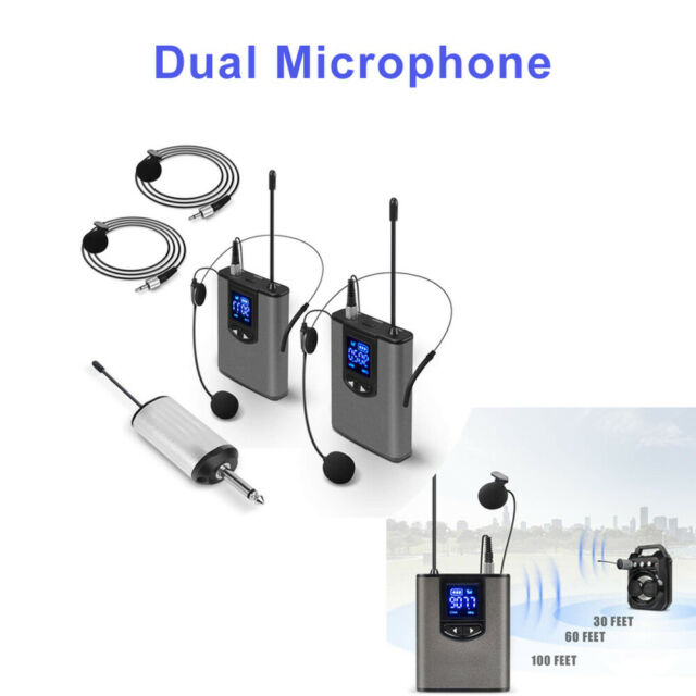 Wireless System with Dual Headset/Lavalier Microphone LCD Display 500mhz-930mhz