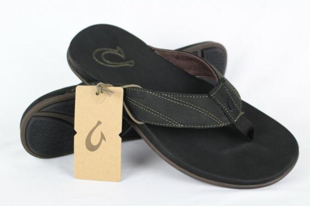 beb2de131788 OluKai Men s Pikoi Flip Flop 9 M Black black Leather for sale online ...